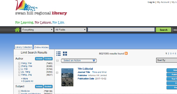 Open Access journals at the Library